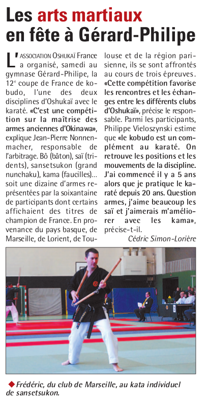 Article du journal sur la Coupe de France de Kobudo